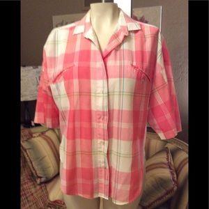 Diane von Furstenberg Vintage Pink Plaid Shirt 8